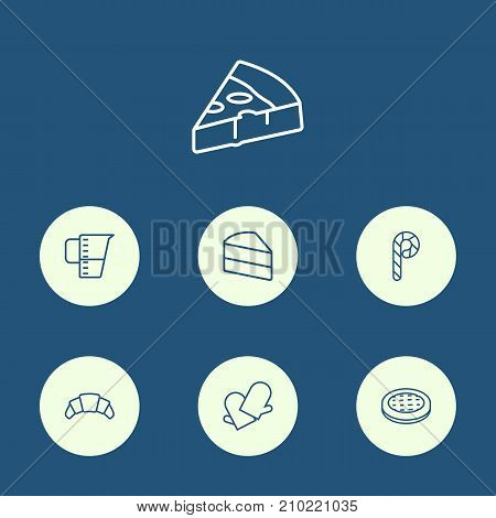 Collection Of Apple Pie, Pizza, Gloves And Other Elements.  Set Of 7 Food Outline Icons Set.
