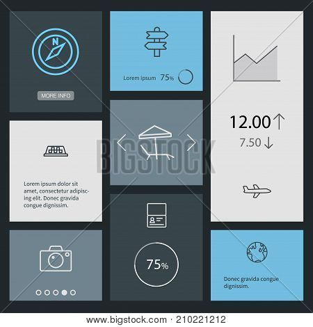 Collection Of Airplane, Direction, Photo And Other Elements.  Set Of 8 Travel Outline Icons Set.