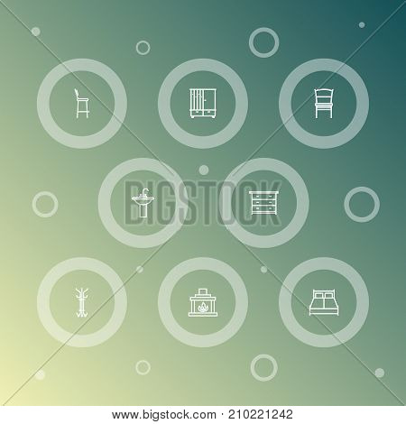 Collection Of Drawer Unit, Chair, Bar Stool And Other Elements.  Set Of 8 Decor Outline Icons Set.