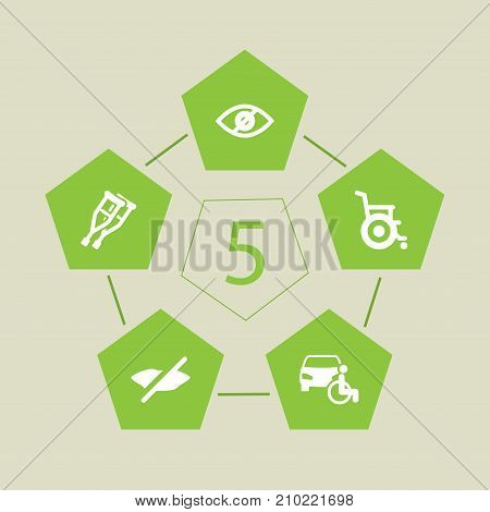 Collection Of Stroller, Can Not Speak, Blindness And Other Elements.  Set Of 5 Accessibility Icons Set.