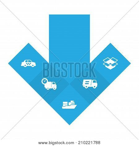 Collection Of Cab, Van, Parcel And Other Elements.  Set Of 5 Shipment Icons Set.