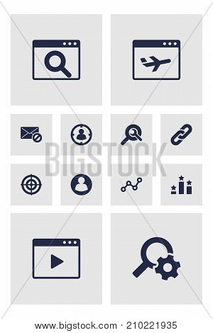 Collection Of Warning, Magnifier, Movie And Other Elements.  Set Of 12 Optimization Icons Set.