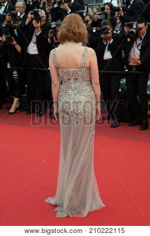 CANNES, FRANCE - MAY 12, 2016: Jessica Chastain  attends the 'Money Monster' Premiere. 69th annual Cannes Film Festival at the Palais des Festivals