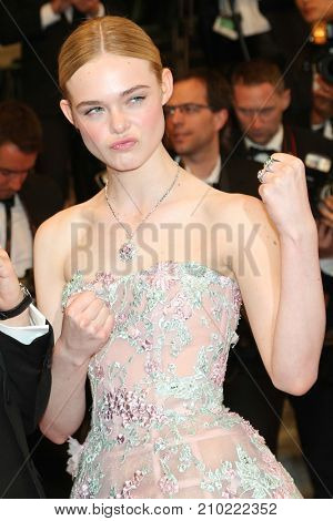 CANNES, FRANCE - MAY 20, 2016: Elle Fanning  attends the 'The Neon Demon' Premiere. 69th annual Cannes Film Festival at the Palais des Festivals