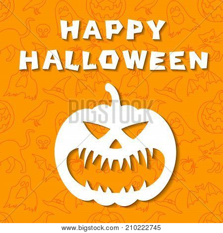 Happy Halloween greeting card. Image of carved pumpkin with evil face. Orange background with outline elements. Vector illustration