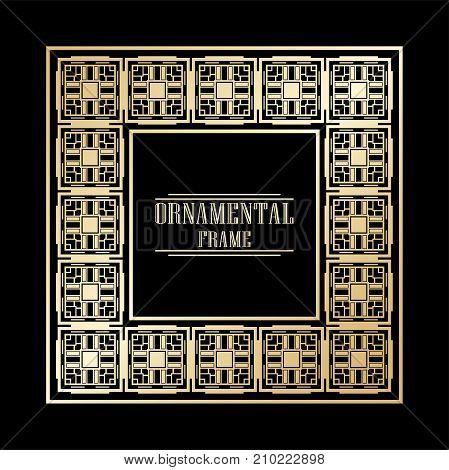 Vintage ornamental art deco frame. Template for design. Vector illustration eps10
