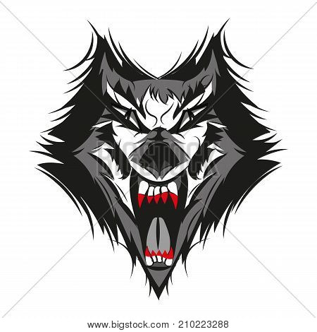 Vector illustration of furious angry face of terrible wolf with open mouth and terrible teeth. Great for use as logo element icon as a tattoo or as symbol of strength and aggressiveness.
