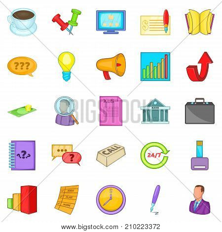 Strategics icons set. Cartoon set of 25 strategics vector icons for web isolated on white background
