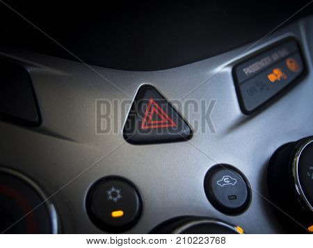 Car emergency flasher signal triangle shape and automobile console