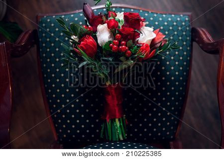 Wedding Bouquet On Chair With Nature Light