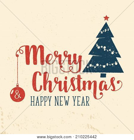 Merry Christmas and Happy New Year retro template with Christmas tree silhouette. Vector illustration. Xmas design for congratulation cards, invitations, banners and flyers.