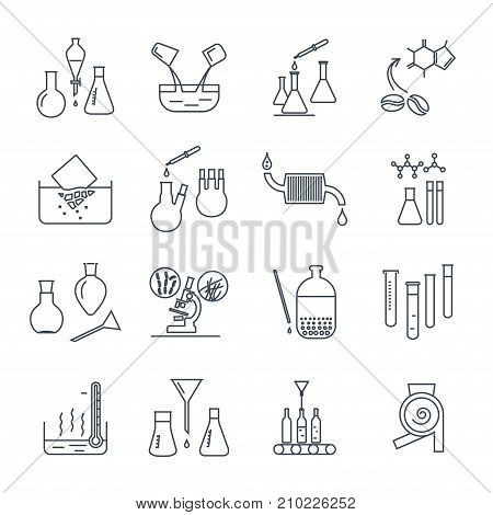 set of thin line icons chemical laboratory equipment and test-tubes