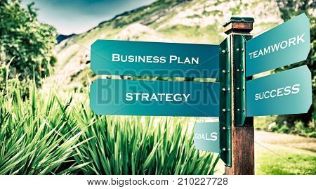 Pointer in the wild nature to the successful business life, choosing right direction, business plan and strategy concept