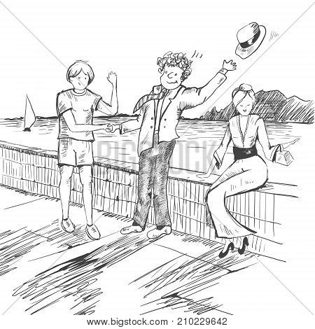 Comic strip. Two men met by a sea. Friendly greeting. One hat flew off. Girl dressed a sexy dress and heels. Sketch style. Vector illustration