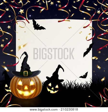 Halloween greeting card with merry pumpkins and golden confetti