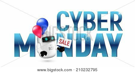 Cute flying robot with red and blue balloons holding a sale sign in hand. Realistic vector illustration to cyber monday isolated on white background. Perfect to use for advertising or design your site
