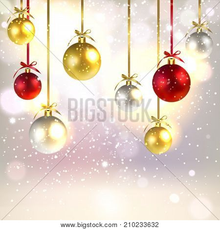 Christmas greetings background with shiny Christmas balls and falling snowflakes