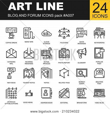 Trendy line icon pack for designers and developers. Vector illustration for social media and network, communication.