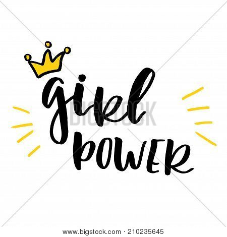 Feminism slogan with hand drawn lettering girl power and funny girly crown in cartoon comic style.