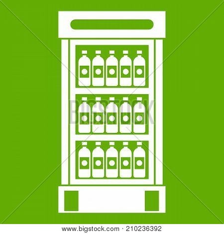 Fridge with refreshments drinks icon white isolated on green background. Vector illustration