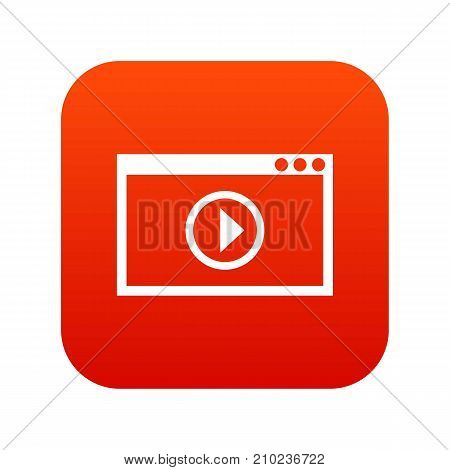 Program for video playback icon digital red for any design isolated on white vector illustration