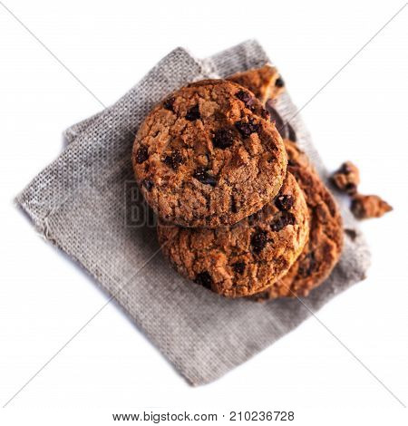Chocolate chip cookies isolated on white background with copy place for text