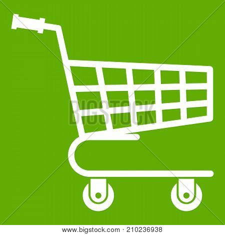 Shopping cart icon white isolated on green background. Vector illustration