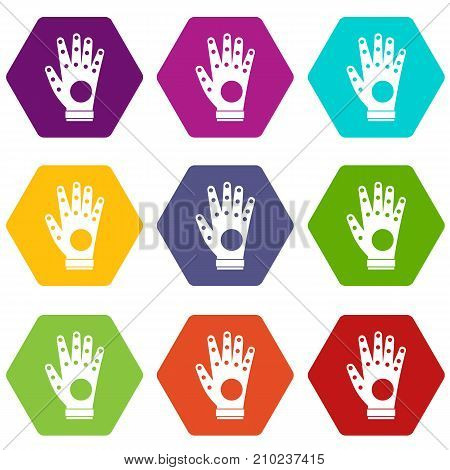 Electronic glove icon set many color hexahedron isolated on white vector illustration