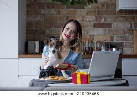 Beautiful Young Photographer Have A Coffee Break With Dog