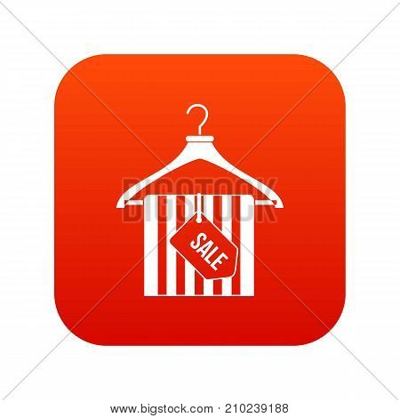 Hanger with sale tag icon digital red for any design isolated on white vector illustration
