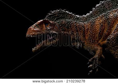 an acrocanthosaurus toy on a black background