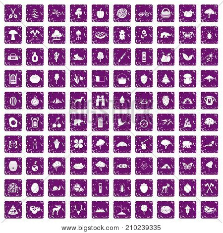 100 camping and nature icons set in grunge style purple color isolated on white background vector illustration