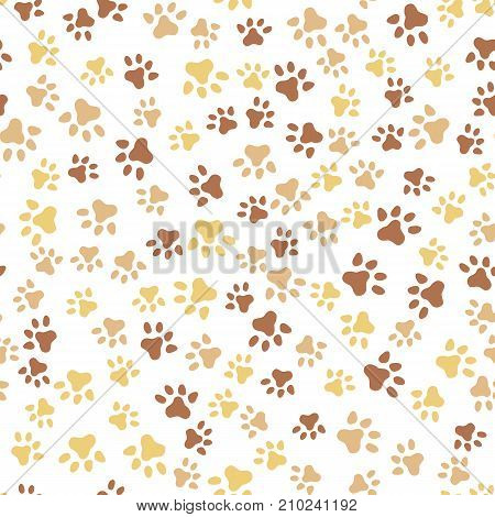 Animal foot print - cat, dog. Seamless pattern of pet paw. Template texture for wallpapers, textile, web page backgrounds.