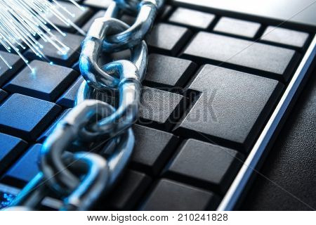 The concept of closure protection. Technology blockchain encryption of Internet traffic.