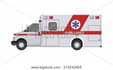 Ambulance car. Emergency vehicle. Hospital transport. Healthcare, hospital and medical diagnostics. Urgency and emergency services. Vector illustration in flat style