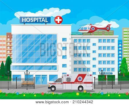Hospital building, medical icon. Healthcare, hospital and medical diagnostics. Urgency and emergency services. Road, sky, sun, tree. Car and helicopter. Vector illustration in flat style poster