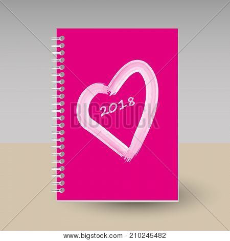 vector cover of diary or notebook with ring spiral binder - format A5 - layout brochure concept - hot pink colored with white heart and hand painted heart