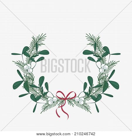 Vector illustration of Christmas wreath with branches and mistletoe. Happy Christmas greeting card