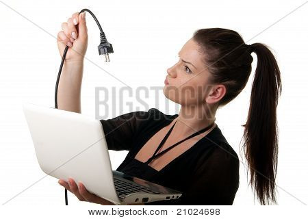Young Woman Netbook Powercable