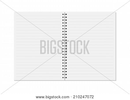 Notebook mock up isolated on white background. Lined pages, copybook with metal spiral template. Realistic opened notebook vector illustration.