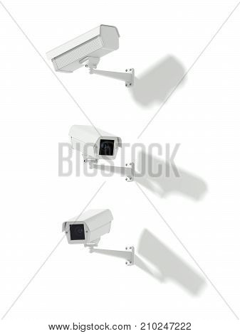 Three white street cameras on a bright background. 3d rendering