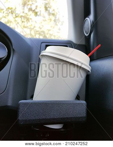 Take Away Cup Of Iced Coffee Put On A Front Console Of A Car