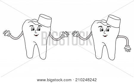 Cute smile tooth isolated on the white background. For medical or dantist greeting card.