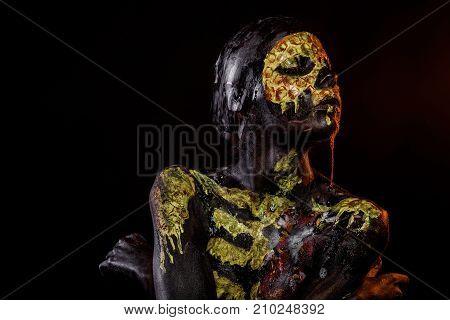 Halloween Girl Skeleton With Flower On Chest On Black Background
