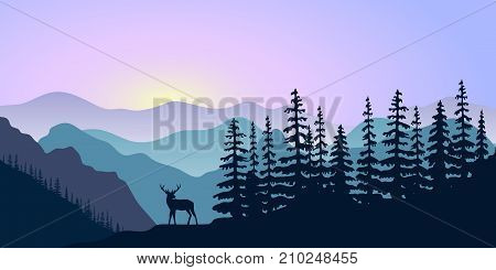 landscape with silhouettes of mountains, deer and forest at sunrise. Vector illustration. peaks, hills, trees, mist, sun beam with sunrise or sunset sky. For prints, posters, wallpapers, web, background