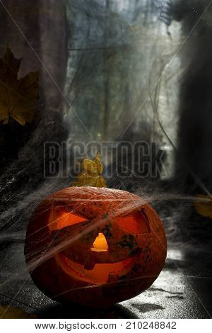 Artistic composition Halloween. Pumpkin Halloween pumpkin head with spiderweb. Scary evil face spooky holiday. Helloween part. Helloween attributes. copy space