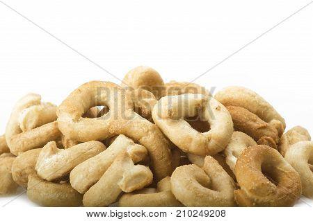 Taralli on the whiteTraditional Italian snack from Puglia