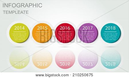 Infographics timeline template with realistic colorful circles for 5 steps and icons. Can be used for workflow layout, diagram, number options, step up options, web design, infographics, presentations