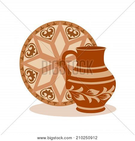 Composition of ceramic jug with tray. Rustic colorful kitchen utensil in brown tones vector illustration for your design. Square location.
