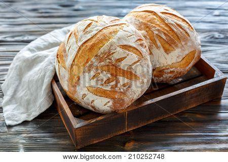Loaves Of Fresh Homemade Sourdough Bread.